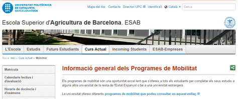 ESAB web on està la informació dels Programes d'Intercanvi